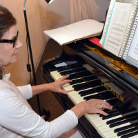 Tess provided a musical accompaniment all night on the grand piano