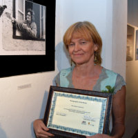 """Ludmilla Steibner's image, """"Feed the Pigeon, Tuppence a Bag"""" was awarded the most votes by opening night visitors"""
