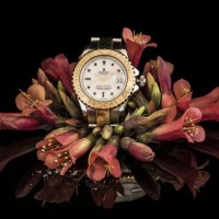 Watch in flowers