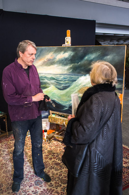 The painter with a visitor