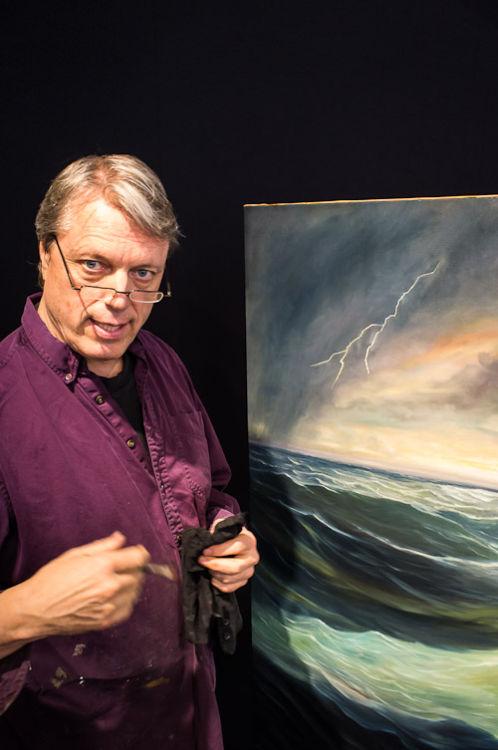 The painter explaining