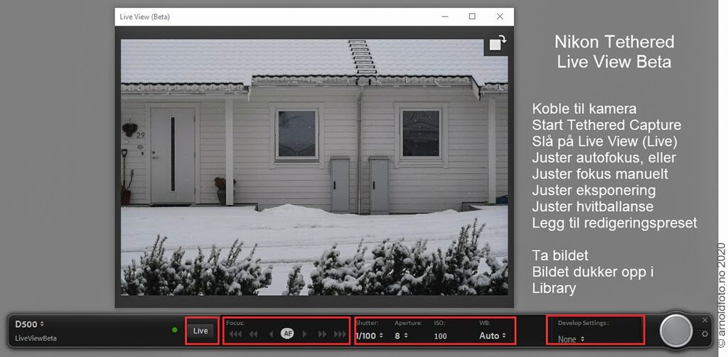 Lightroom Classic 10.2, Tethered Capture Live View for Nikon