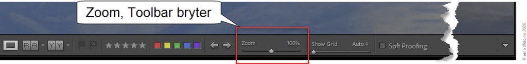 Lightroom Classic 10 - Zoom på Toolbar