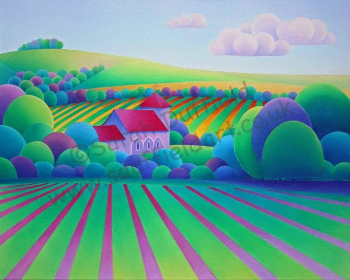 Abstracted, colourful Landscape painting of St Botolphs Church by Sarah Duffield artist. Bright pink and green stripes lead to a group of trees with the red roofed church nestling amongst them. Pale fluffy clouds float across the sky.