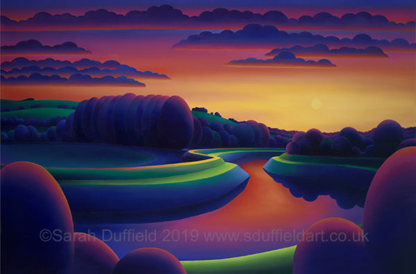 Abstracted oil painting by artist Sarah Duffield. A deep red/yellow sunset reflects in the river and on the river path. Dark purple clouds, circular trees and Chanctonbury ring contrast..