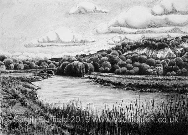 Charcoal drawing by Sussex artist Sarah Duffield of the river Arun near Amberley; old chalk pits, white cottage and Houghton bridge visible.