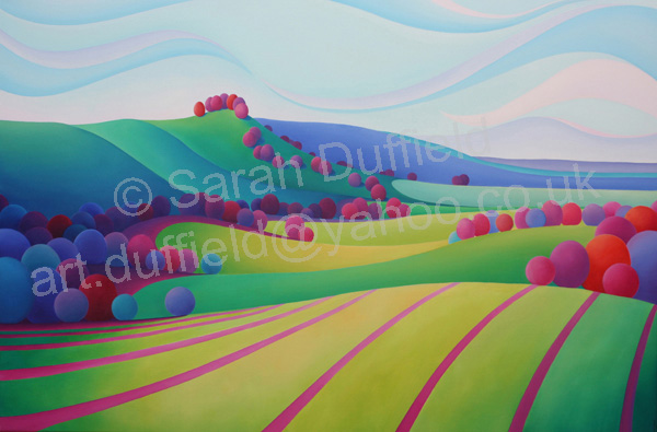 """To Chanctonbury"" A green and Pink commission."