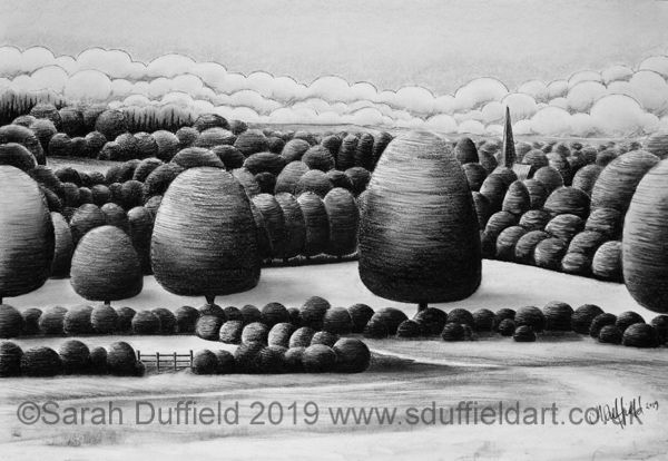 Charcoal drawing by Sussex artist Sarah Duffield of Chesworth farm, looking over Jeeny Barelegs field towards St Marys Church spire. Art Deco clouds and abstracted trees drawn as if etched.