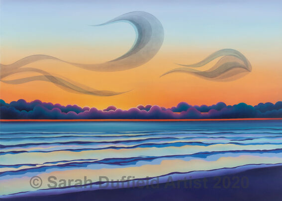 A gentle sunset graduating from blue, through orange to red with a line of deep purple fluffy clouds near the horizon line. A gentle sea reflects the warm sunset and abstracted murmurations swoop in the sky.