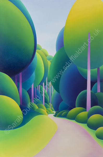 Abstracted oil painting by artist Sarah Duffield of St Leonards Forest, Horsham. Pathway through dense woodland of Pine trees with long, pale purple/pink trunks and lime green/blue tops. Unusually this landscape image is portrait orientated.