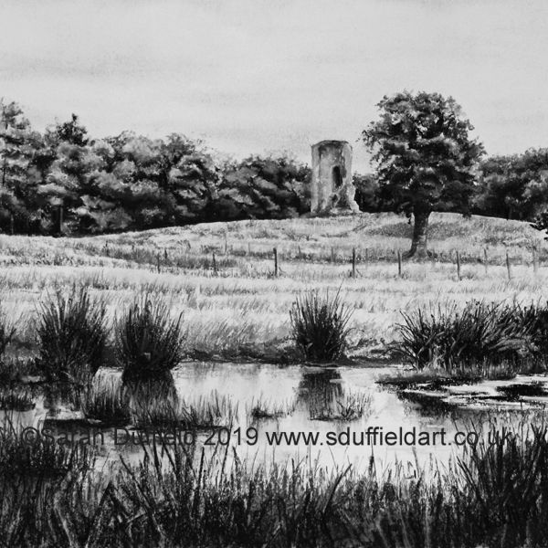 A square charcoal drawing of Knepp ruin across a small, marshy stream of the river Adur.