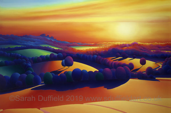 Warm deeply coloured and abstracted, landscape oil painting for Horsham District Year of Culture by Sussex artist Sarah Duffield. View of Chanctonbury ring, Bramber castle and river Adur at sunset from high up on Beeding hill.