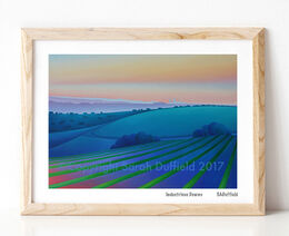 Contemporary sunrise print of an oil painting of sunrise from Bostal road - Brighton is in the distance - framed in pine.