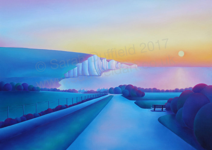 Abstracted oil painting by artist Sarah Duffield of the view from Seaford head. A frost covered path glowing warmly with the sunrise leads down to the beach and Seven sisters cliffs