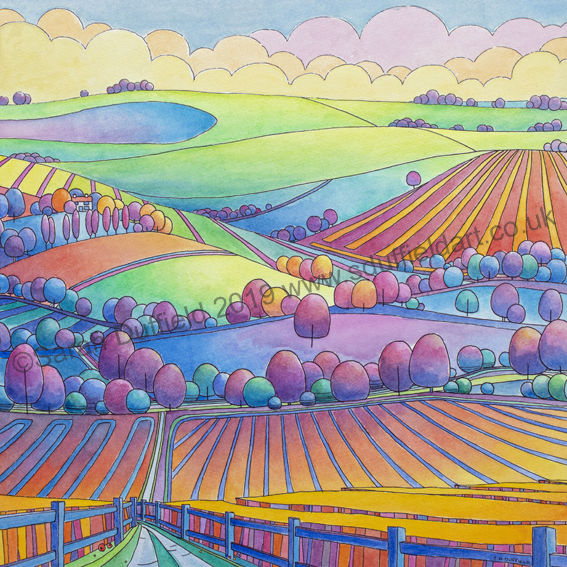 Abstracted, colourful Pen and Wash Art Deco inspired landscape by artist Sarah Duffield. Looking down a pathway through yellow and blue stripy fields, across blue/purple circular tree lined fields towards Steyning bowl.