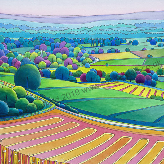Abstracted, Pen and Wash Art Deco inspired landscape by S.Duffield. A high viewpoint looking across a pink/orange striped field. Clumps of circular trees with a church spire follow a river towards distant pale blue/purple hills.