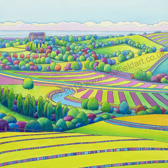 Abstracted Pen and Wash landscape by Sarah Duffield. Art deco inspired image from a high view point looking down colourful green/yellow and pink striped fields toward Lancing chapel and the sea.