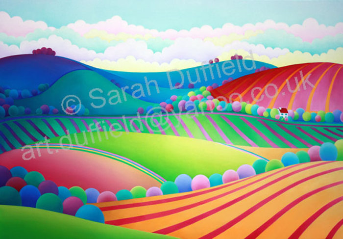 """Stripy Downs View"" Greeting Card or Mini Print"