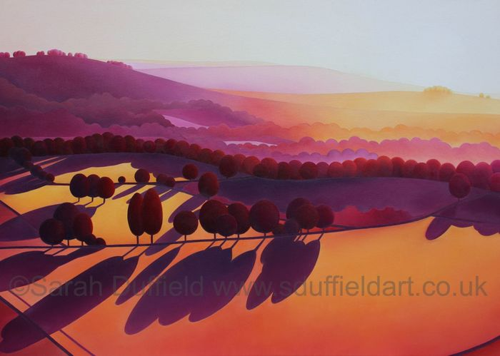 A modern orange, yellow sunset over the South Downs with deep red trees casting long purple shadows.