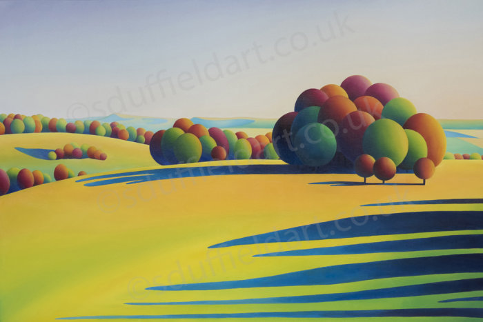 Abstracted landscape painting by artist Sarah Duffield. Clumps of circular, autumnal coloured trees on warm, sun kissed slopes throw long afternoon shadows. South downs including Bo Peep hill in the back ground.