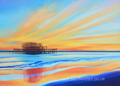 Modern Oil Painting of the West pier with a flared sunset behind and reflection in low tide - complementary blues and orange