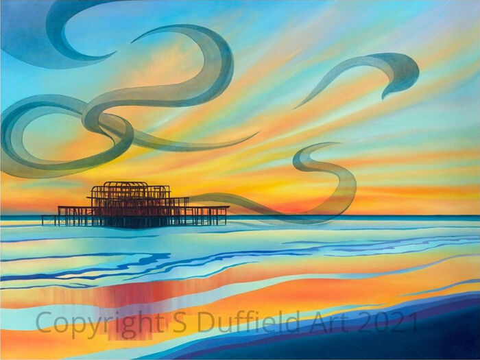 Brighton West Pier with vivid sunset behind reflected in abstracted still water. Abstracted Starling murmurations swirl in the sky.