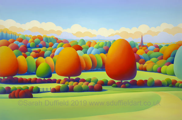 Colourful, abstracted landscape by Sarah Duffield of Chesworth farm in Horsham. A pathway through a field leads to Autumn oranges and cool blue circular trees against an art deco inspired sky, church spire is visible.