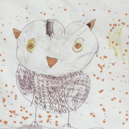 A childs drawing of an owl
