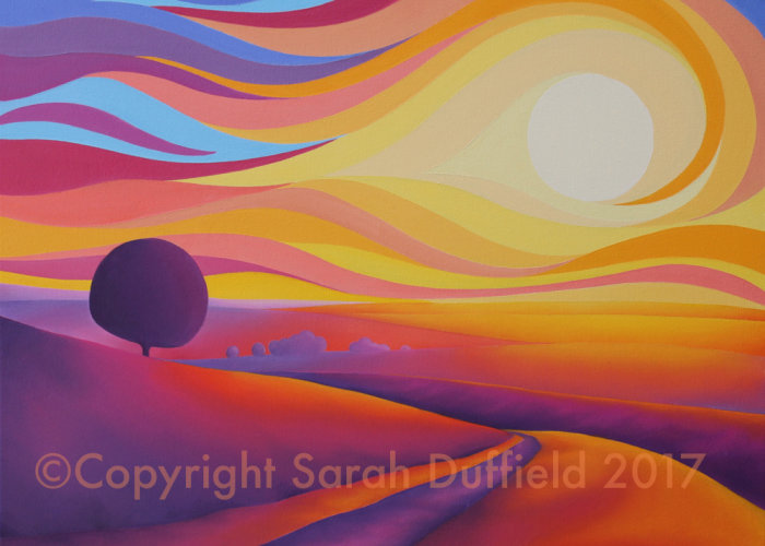 Psychedelic abtracted landscape in oil paint by artist Sarah Duffield. A single, deep purple simplified tree and pathway is silhouetted against a swirling orange and red sky.