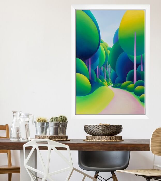Original landscape painting hanging in a scandinavian dining room setting. Bold colourful Oil painting of an avenue of abstracted trees with a path leading through.