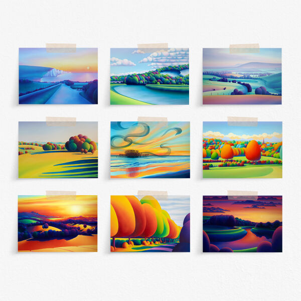Pack of Nine, mixed, Straight edge 7x5 inch greeting cards