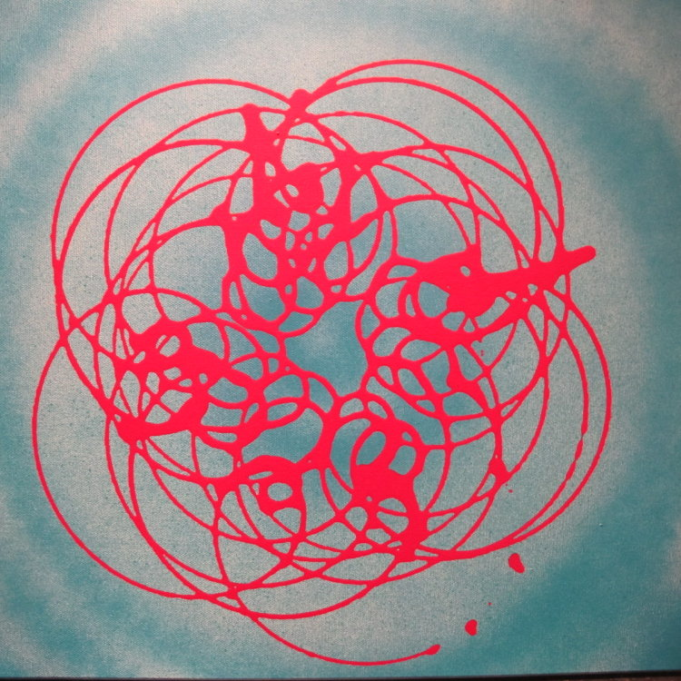 Red and  two degrees of  freedom :  acrylic 60 cm x  60  cm : £115