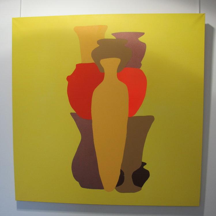 Egyptian symmetry :  acrylic on canvas  100 cm x 100 cm : £325