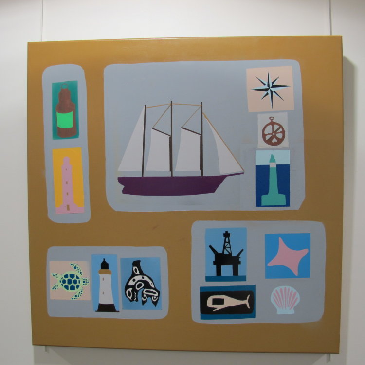 Emblems of the Sea #1 - linked to maritime theme with inclusion of Eco Art 90 cm x 90 cm  £425