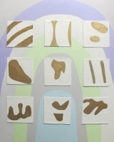 Gesso  panels  on  70 x 70  cm   canvas.  Depicts  enigmatic glyphs on gesso panels.   Price  £425.00