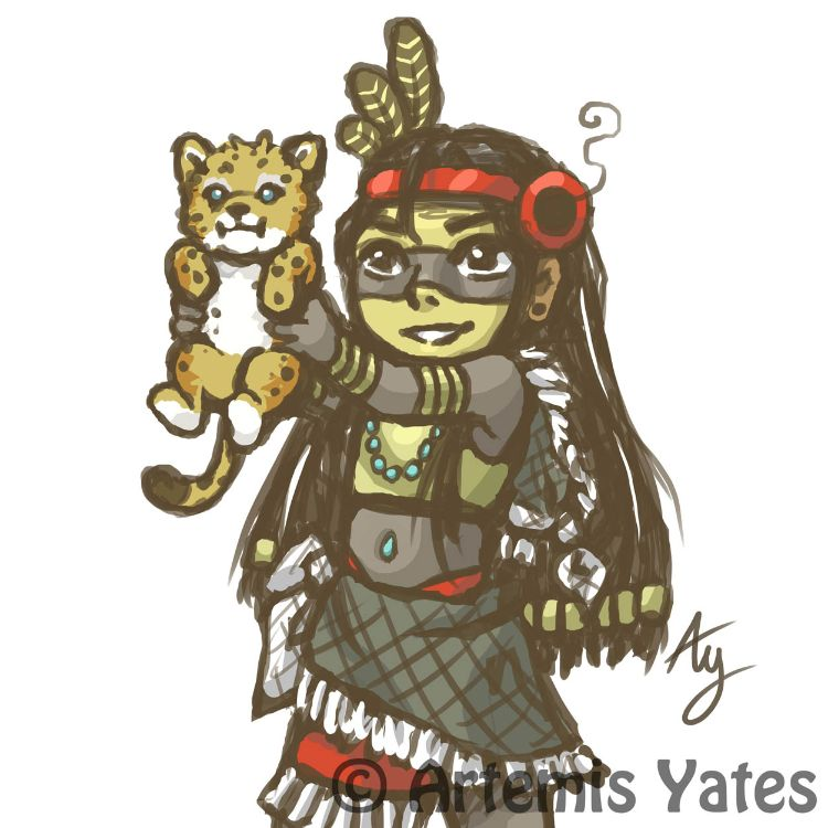 Tezcatlipoca and jaguar cub sketch