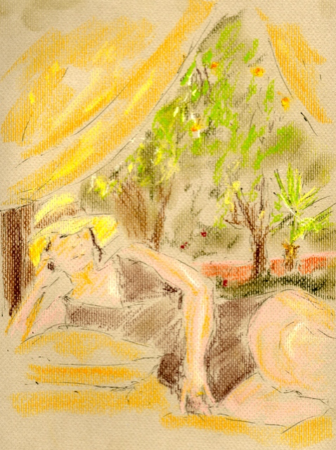 Lazy Afternoon - pen & pastel