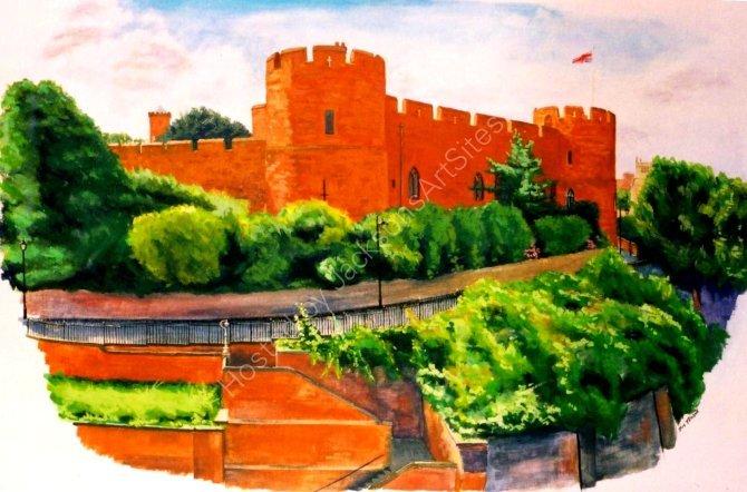 Shrewsbury Castle - gouache.