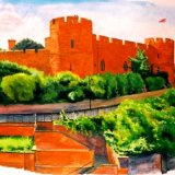 Shrewsbury Castle - gouache.