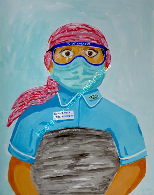 Taking the PPE - gouache