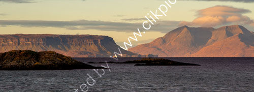 Sunlit Eigg and Rum from Arisaig