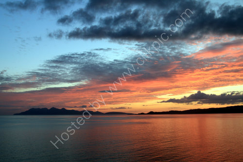 Sunset over Rum and Sleat Point, Isle of Skye