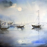 Harbor in Moonlight
