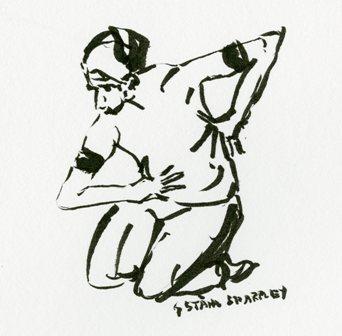 Card 1, from original ink drawing on white, Gudrun Ståhl Sharpley