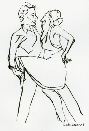 Card 4, from original ink drawing on white, Gudrun Ståhl Sharpley