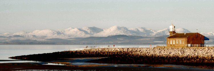 morecambe bay towards the winter lakeland hills