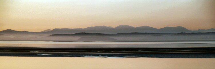 morecambe bay towards the lakeland hills early evening