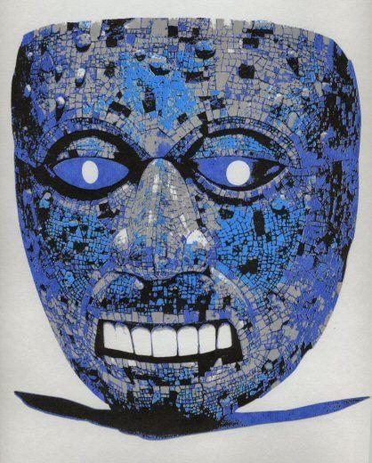 aztec mask in blue