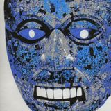 aztec mask in blue