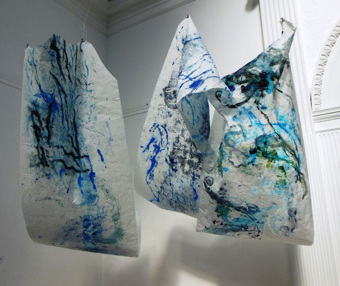 Between Here and There - a series of 3,  3m x1 m each -monoprinted Kozo Japanese paper panels, suspended. At The Storey Gallery, Lancaster, UK
